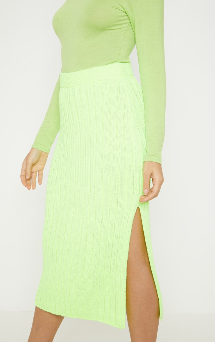 Petite Knitted Neon Lime Ribbed Midi Skirt 5