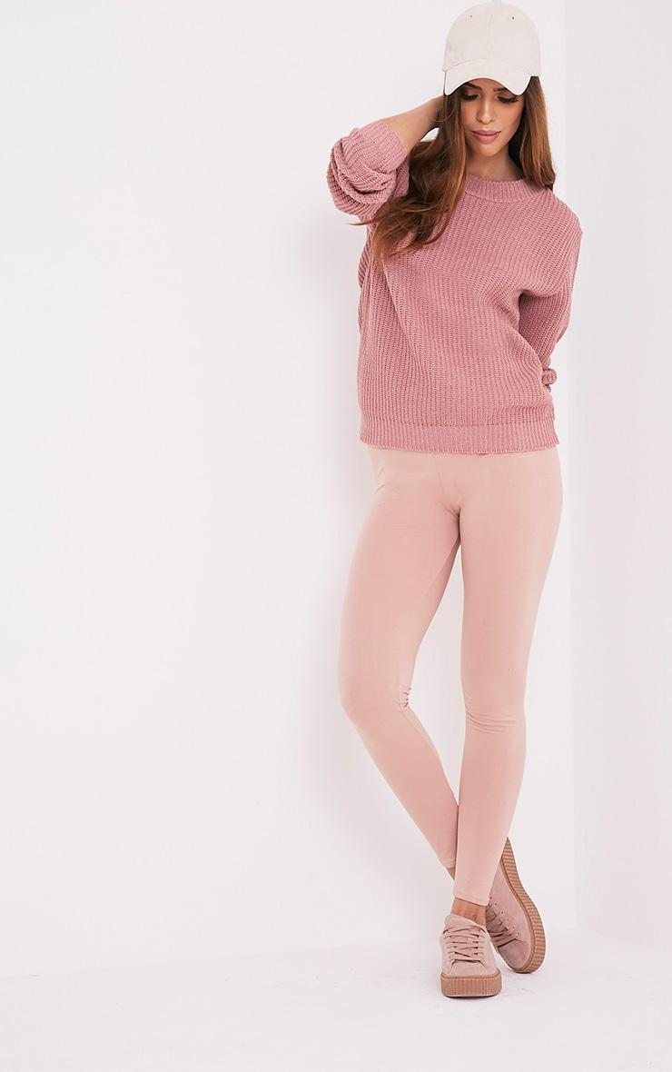 Chenai pull tricoté style pêcheur rose 1