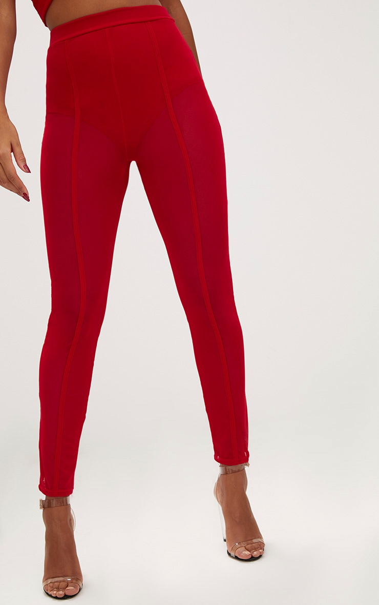 Red Mesh Front Seam Skinny Trousers 5