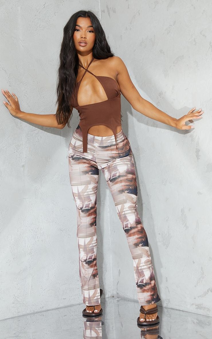 Brown Print Split Hem Detail Skinny Trousers 1