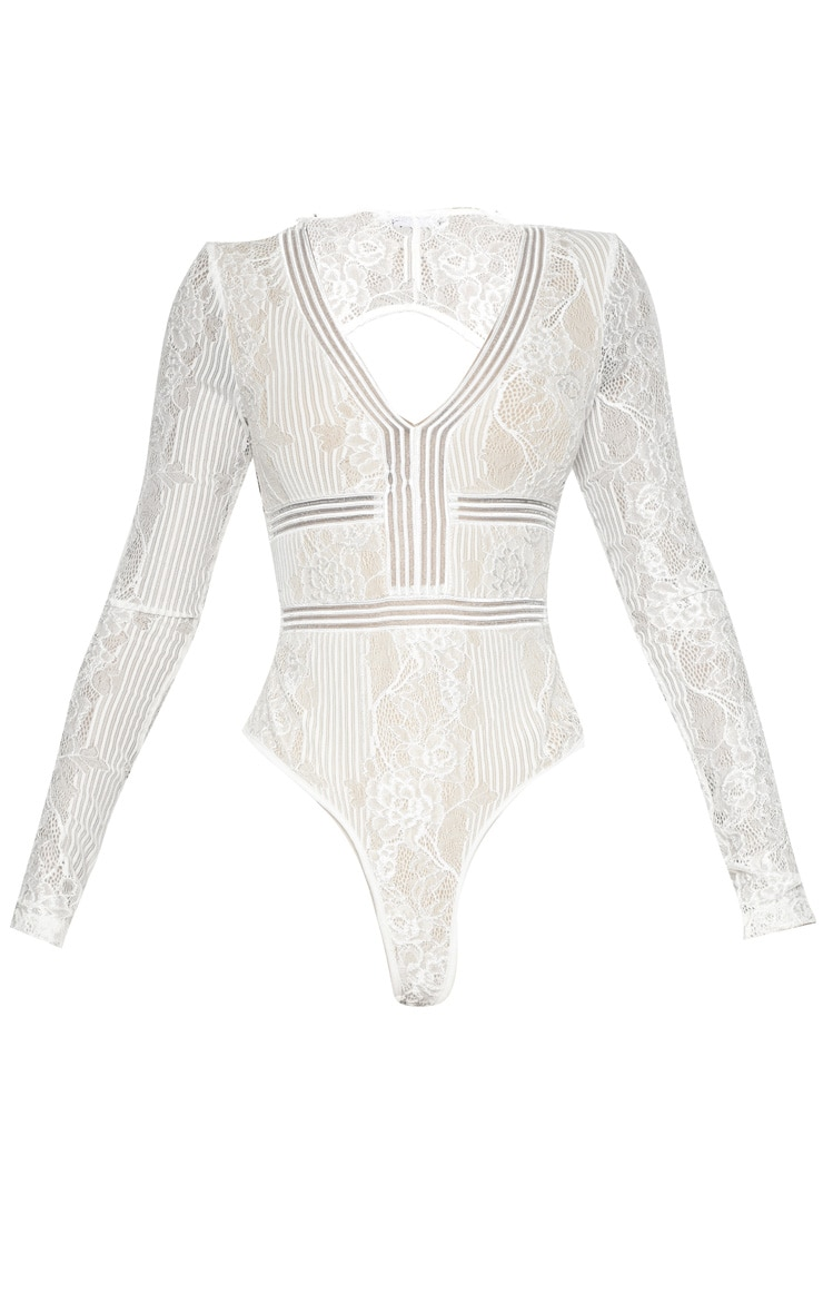 White Lace Open Back Thong Bodysuit  3