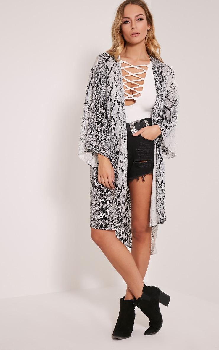 Camille Grey Snakeskin Kimono 1