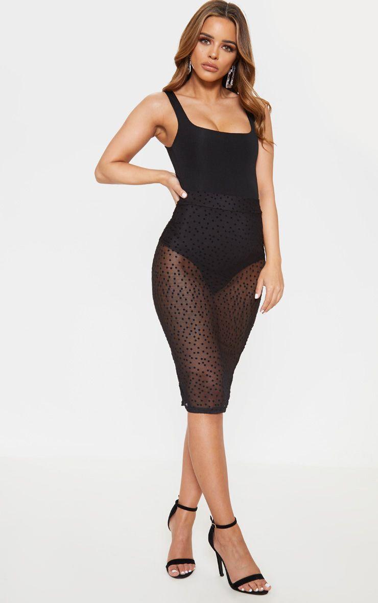 Petite Black Mesh Polka Dot Midi Fitted Skirt 1