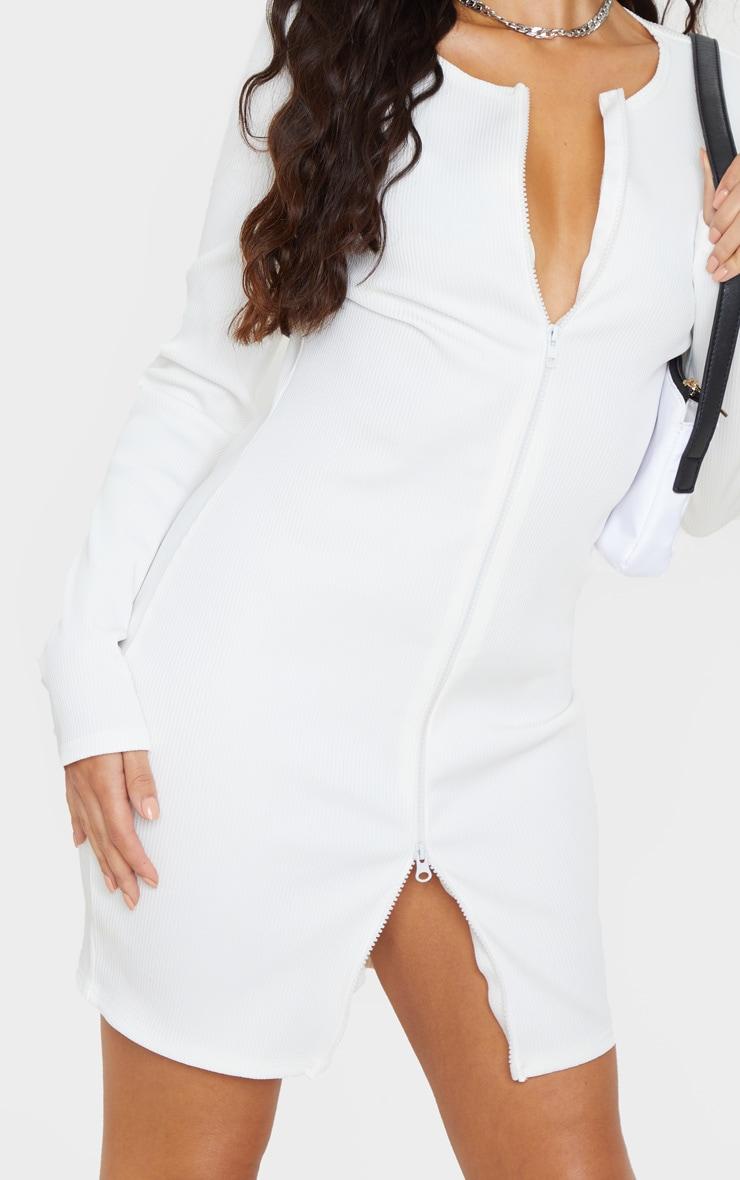 White Jumbo Rib Double Zip Bodycon Dress 5