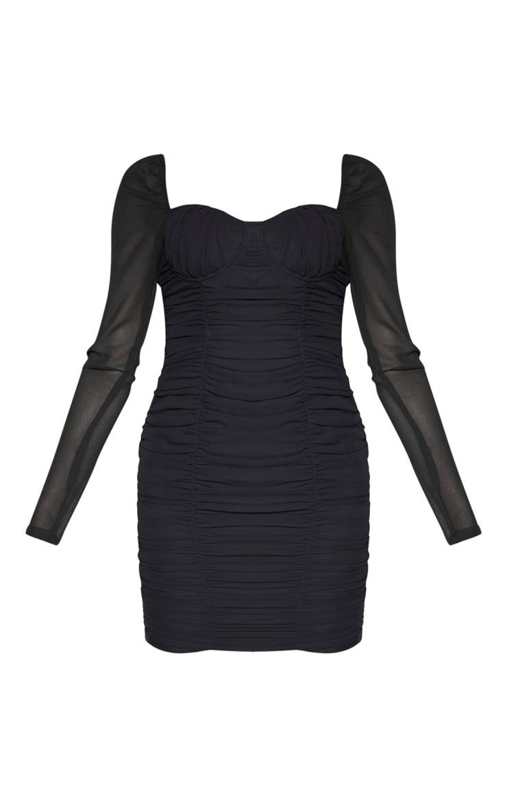 Tall Black Ruched Mini Dress 3