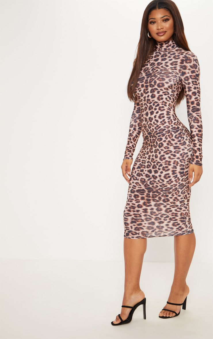 Tall Brown Leopard Slinky High Neck Midi Dress 4