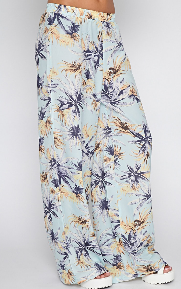 Jocelyn Blue Leaf Print Trouser -S 4
