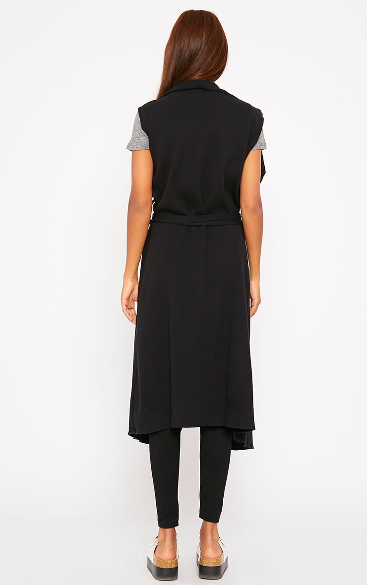 Pari Black Knit Waterfall Sleeveless Cardigan 2