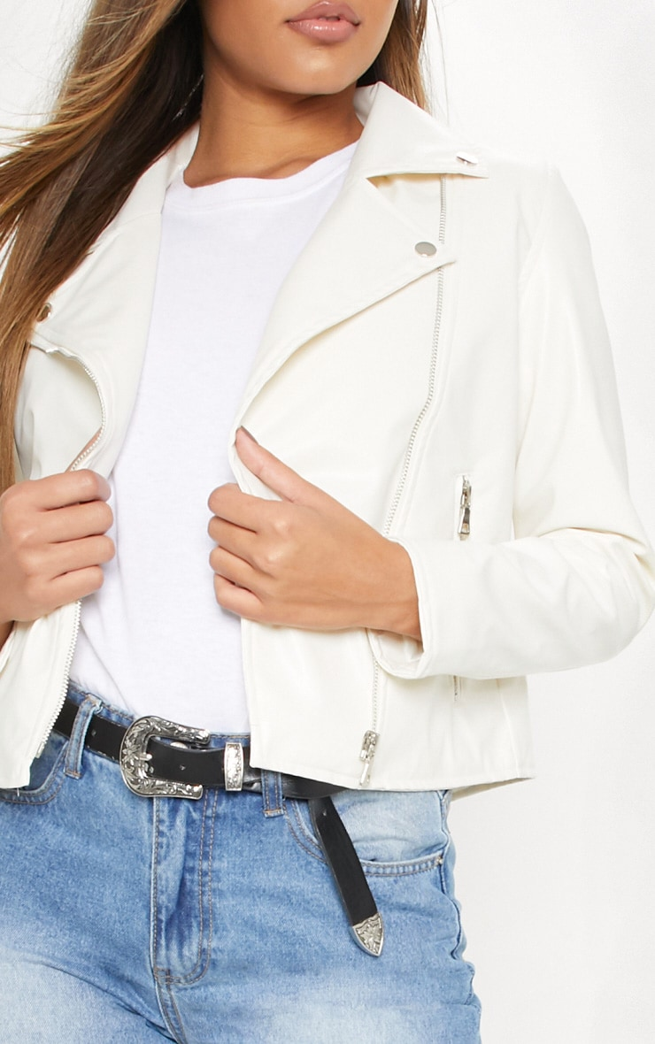 White PU Biker Jacket 5