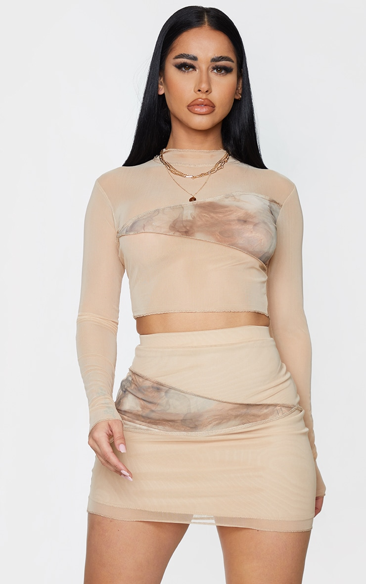Shape Stone Smoke Print Mesh Panel Detail Bodycon Skirt 4