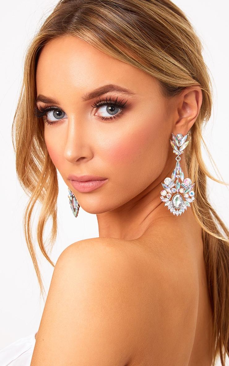 Silver Iridescent Diamante Drop Earrings 1