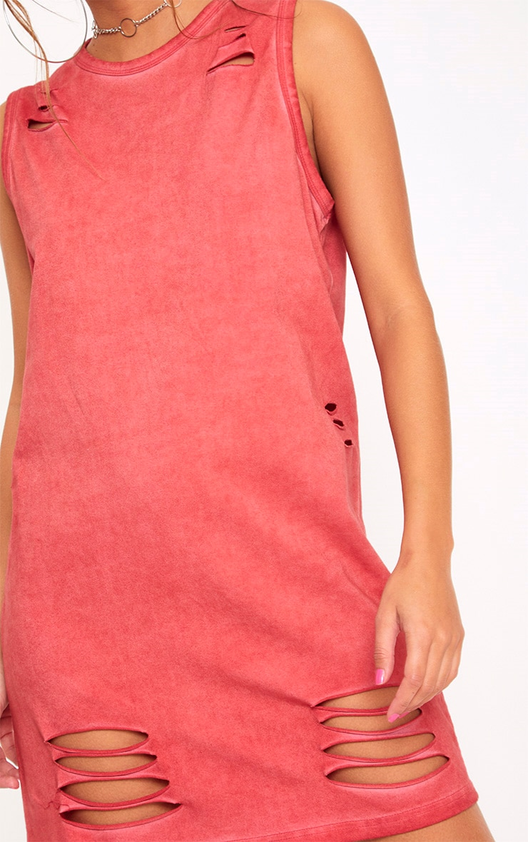 Red Acid Wash Sleeveless T Shirt Dress 5