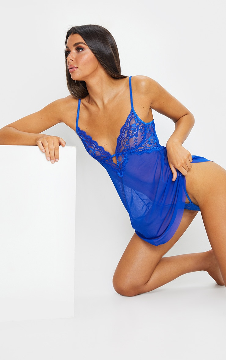 Cobalt Blue Lace Embroided Mesh Babydoll Nightie 3
