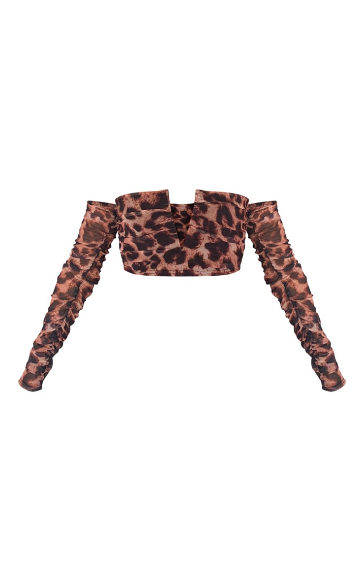 Tan Mesh Leopard Print V Wire Bardot Crop Top 5