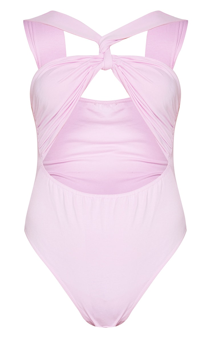 Lilac Knot Twist Front Cut Out Bodysuit 5