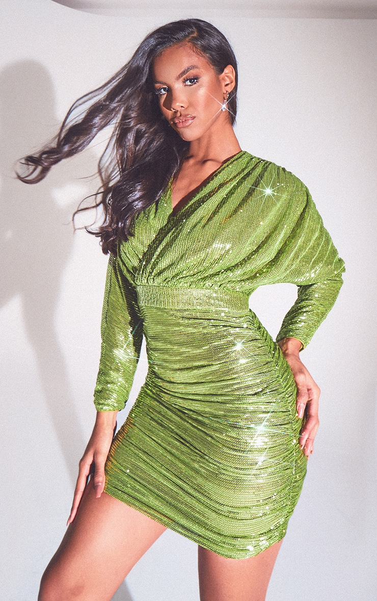 Olive Sequin Long Sleeve Wrap Detail Bodycon Dress 1
