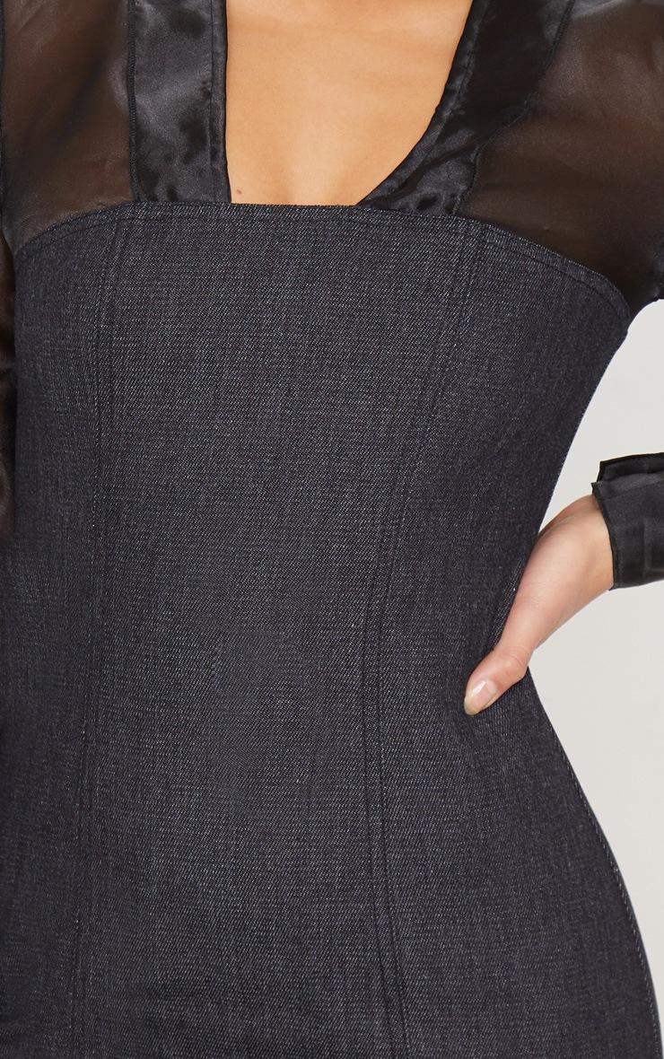 Petite - Robe moulante à base en jean noir et manches en mousseline de soie  5