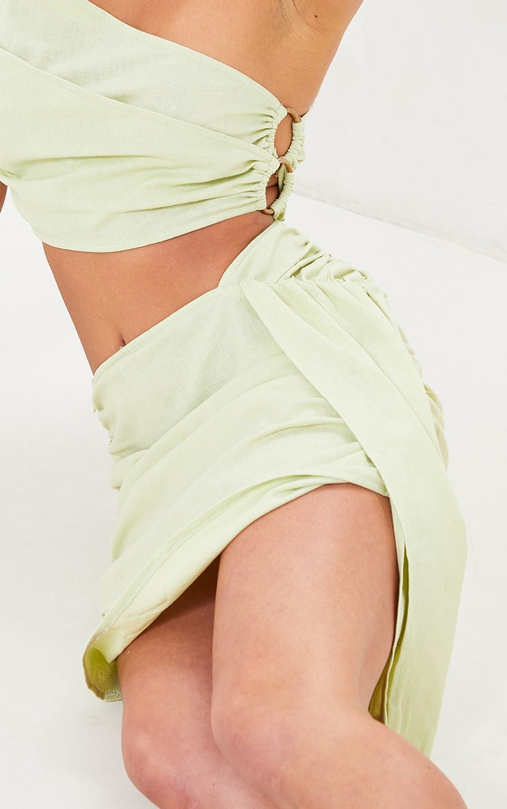 Petite Sage Green Linen Feel Ruched Side Bodycon Skirt 5