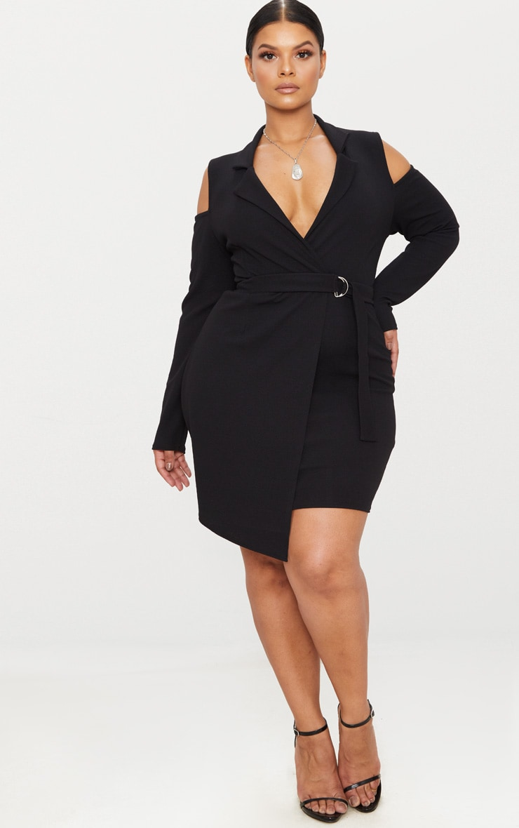 Plus Black Cold Shoulder Ring Detail Blazer Dress 4