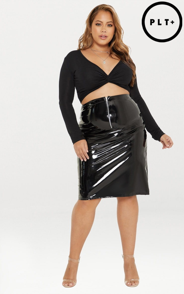 Plus Black PU Midi Skirt 1