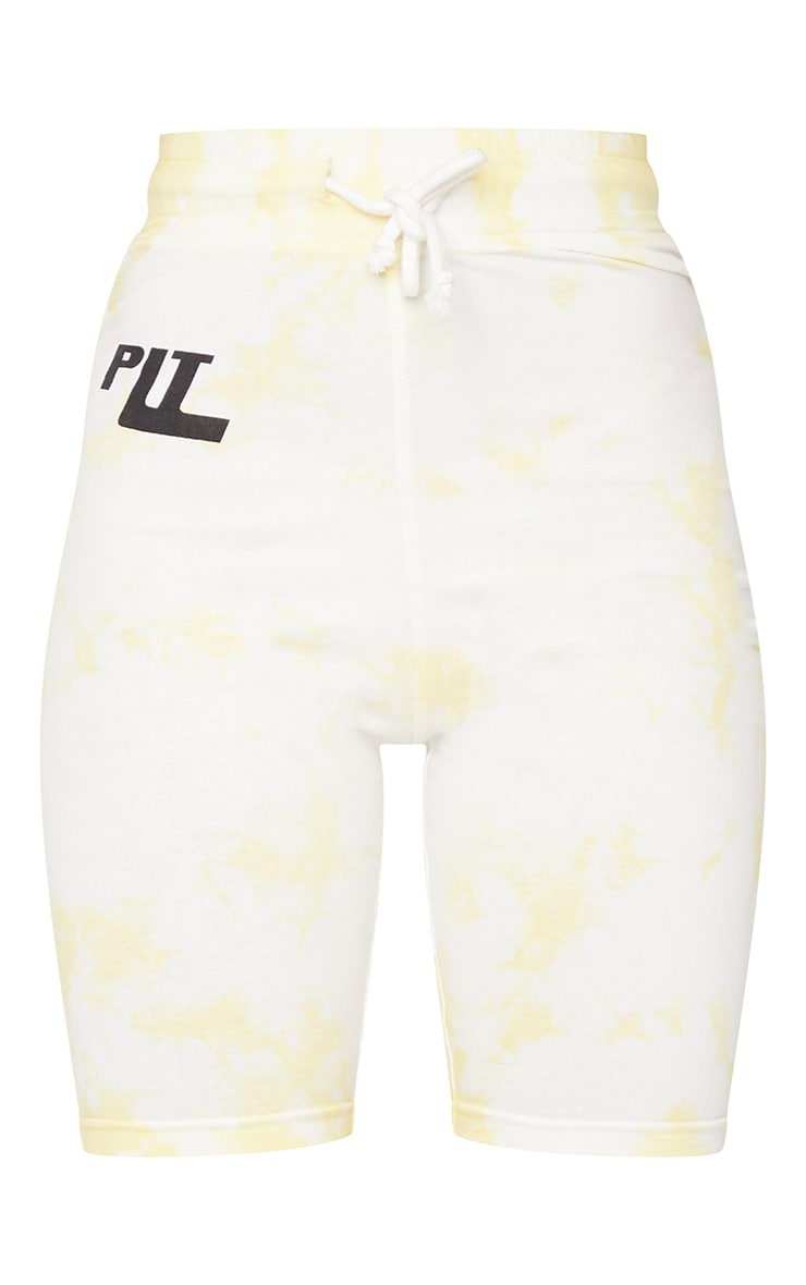PRETTYLITTLETHING Yellow Tie Dye Cycle Shorts 6