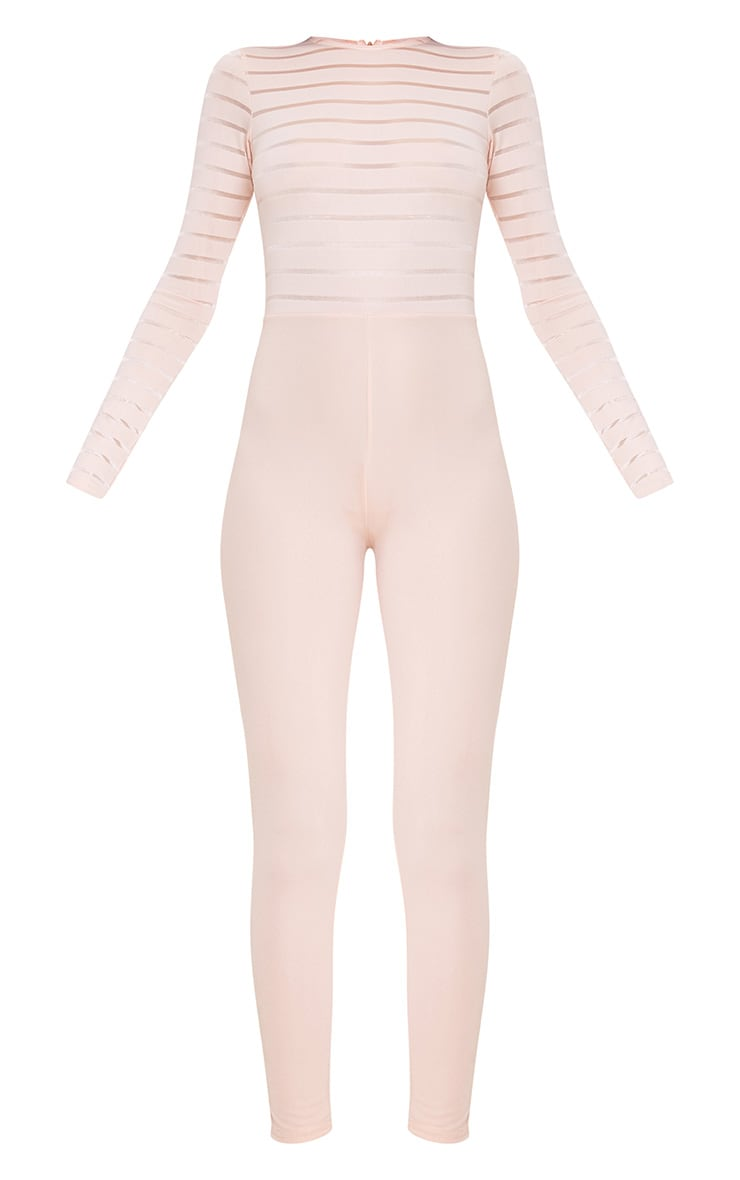 Polly Nude Burn Out Mesh Jumpsuit 3