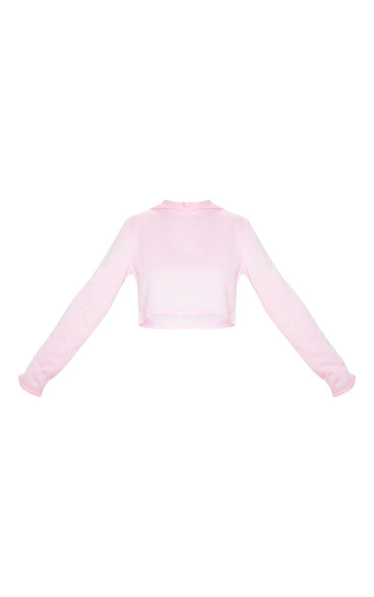 Basic Baby Pink Crop Hoodie 3