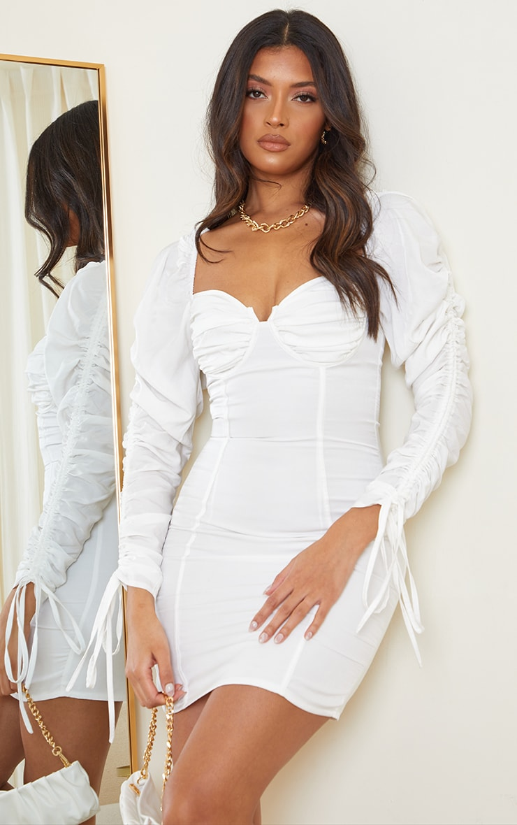 Cream Woven Ruched Cup Detail Long Sleeve Bodycon Dress 1