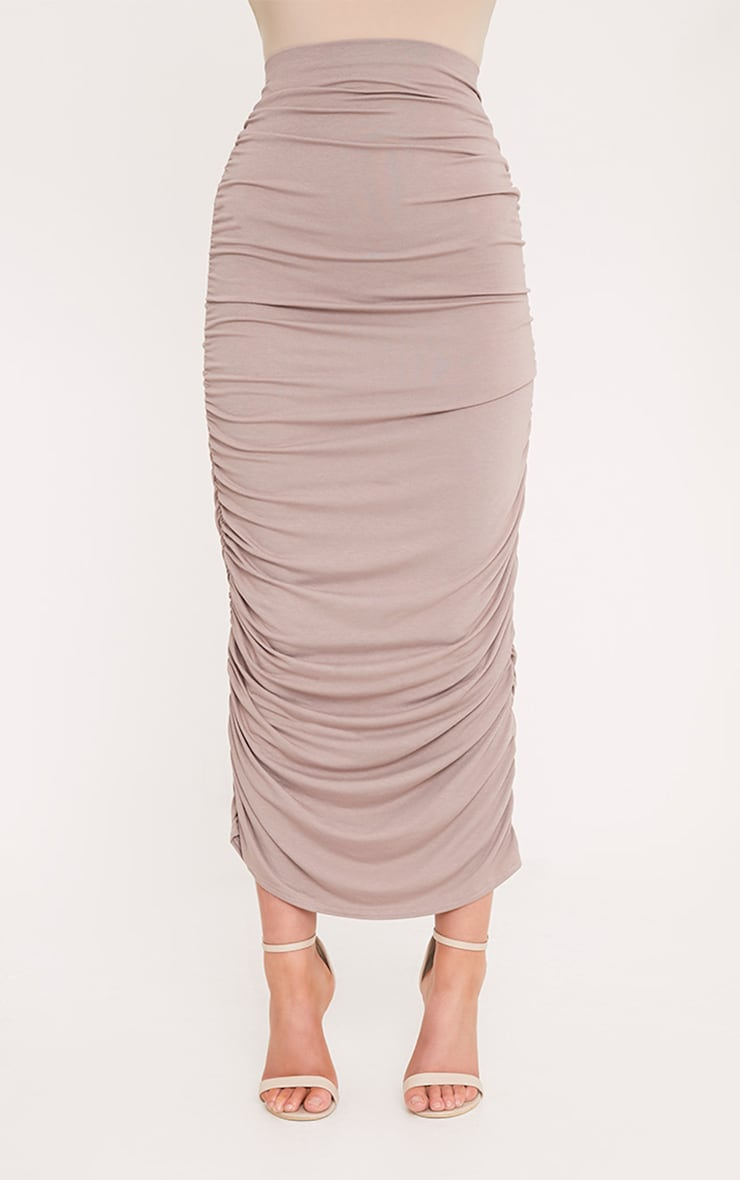 Taupe Second Skin Ruched Midaxi Skirt 2