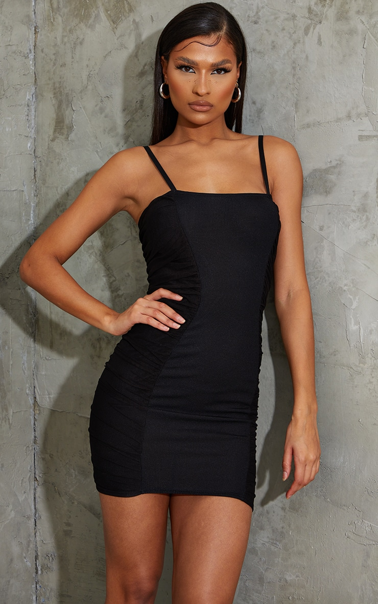 Black Ribbed Mesh Ruched Side Panel Bodycon Dress 1