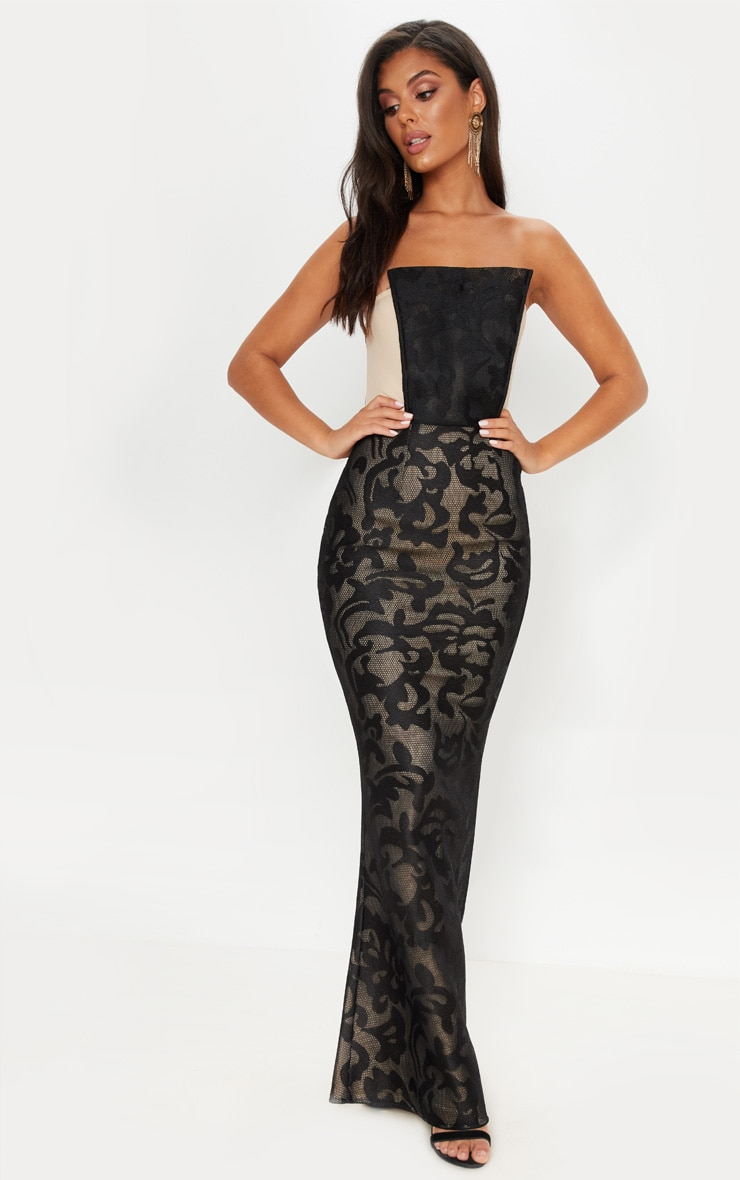 Black Structured Lace Square Neckline Maxi Dress