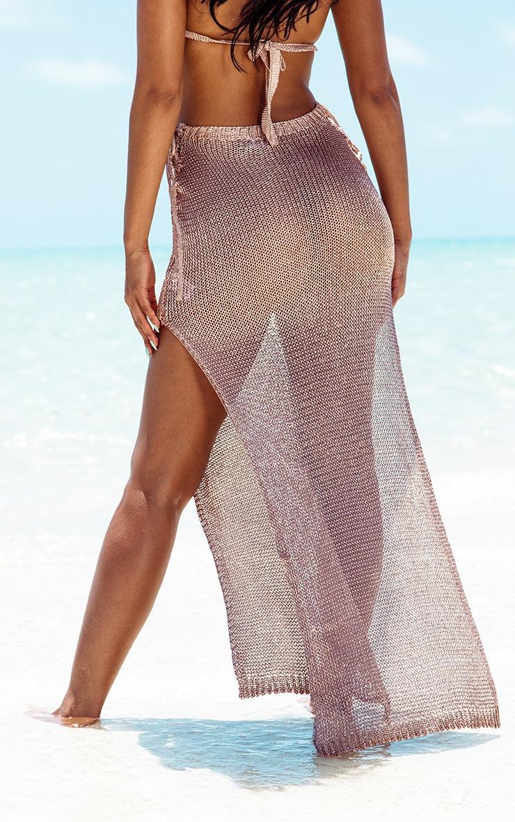 Rose Gold Metallic Knitted Maxi Skirt 4