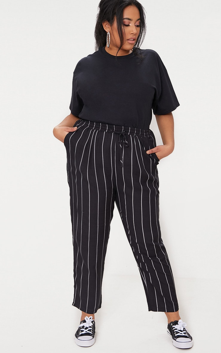 Plus Pin Stripe Casual Trousers 1