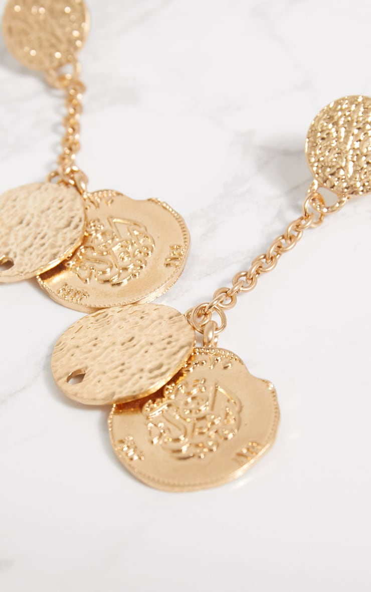 Gold Hammered Coin Drop Earrings 4