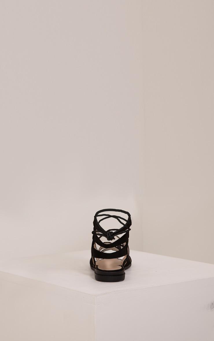 Femi Black Faux Suede Gladiator Sandals 2