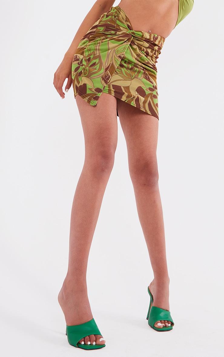 Tall Khaki Floral Print Wrap Mini Skirt 5