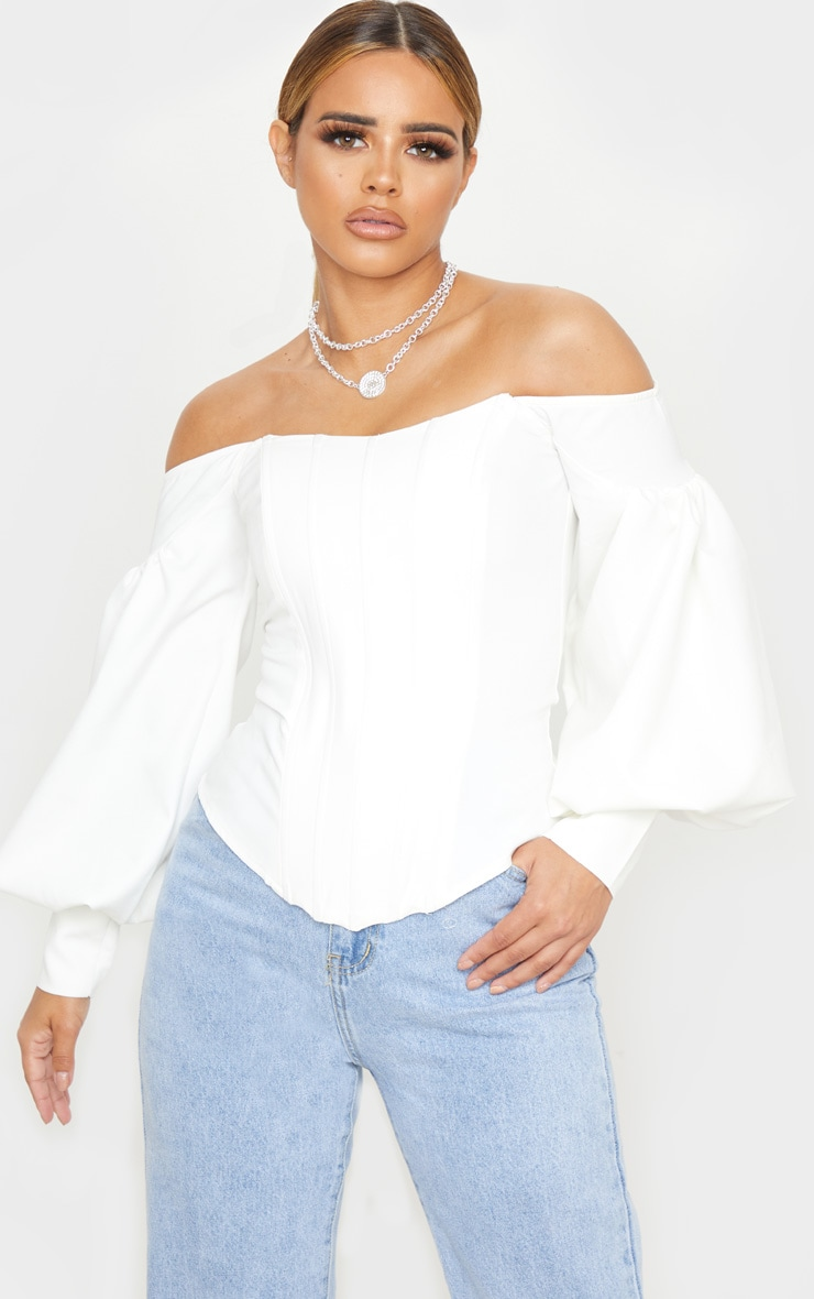 Petite White Bardot Balloon Sleeve Corset Top 1