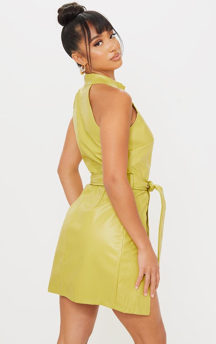 Petite Green High Neck Cut Out Wrap PU Mini Dress 2
