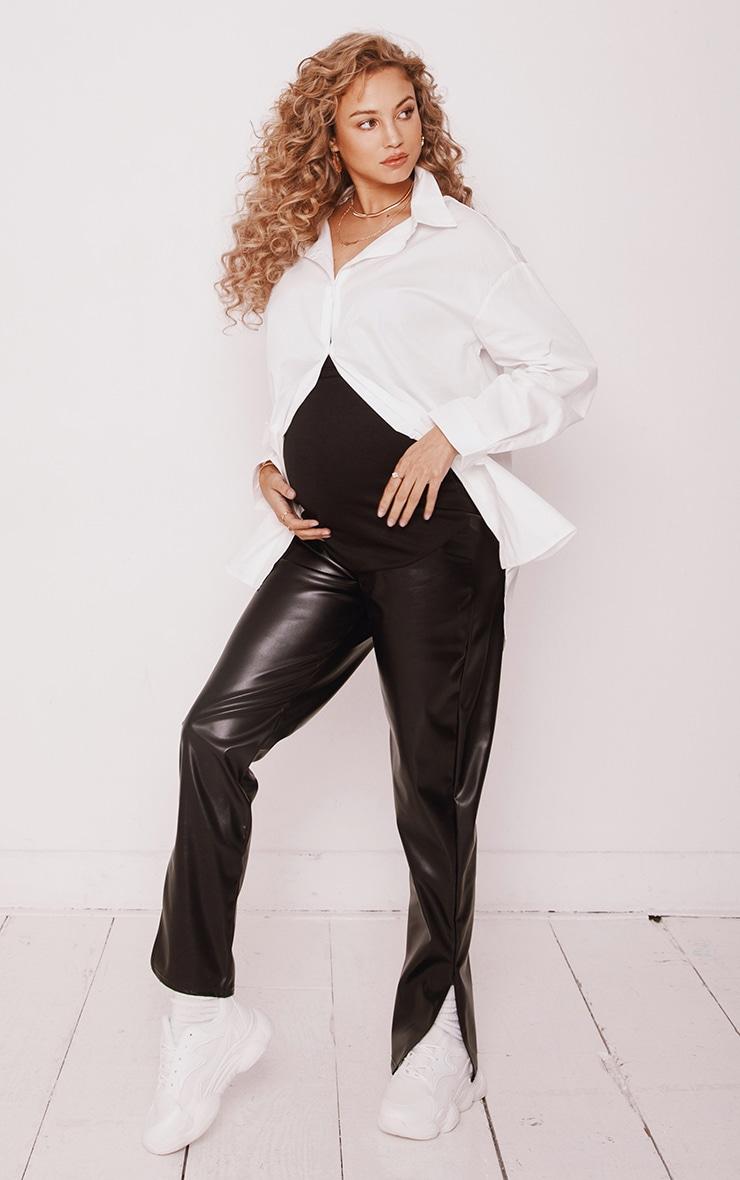 PLT Maternité - Pantalon en similicuir noir à ourlets fendus