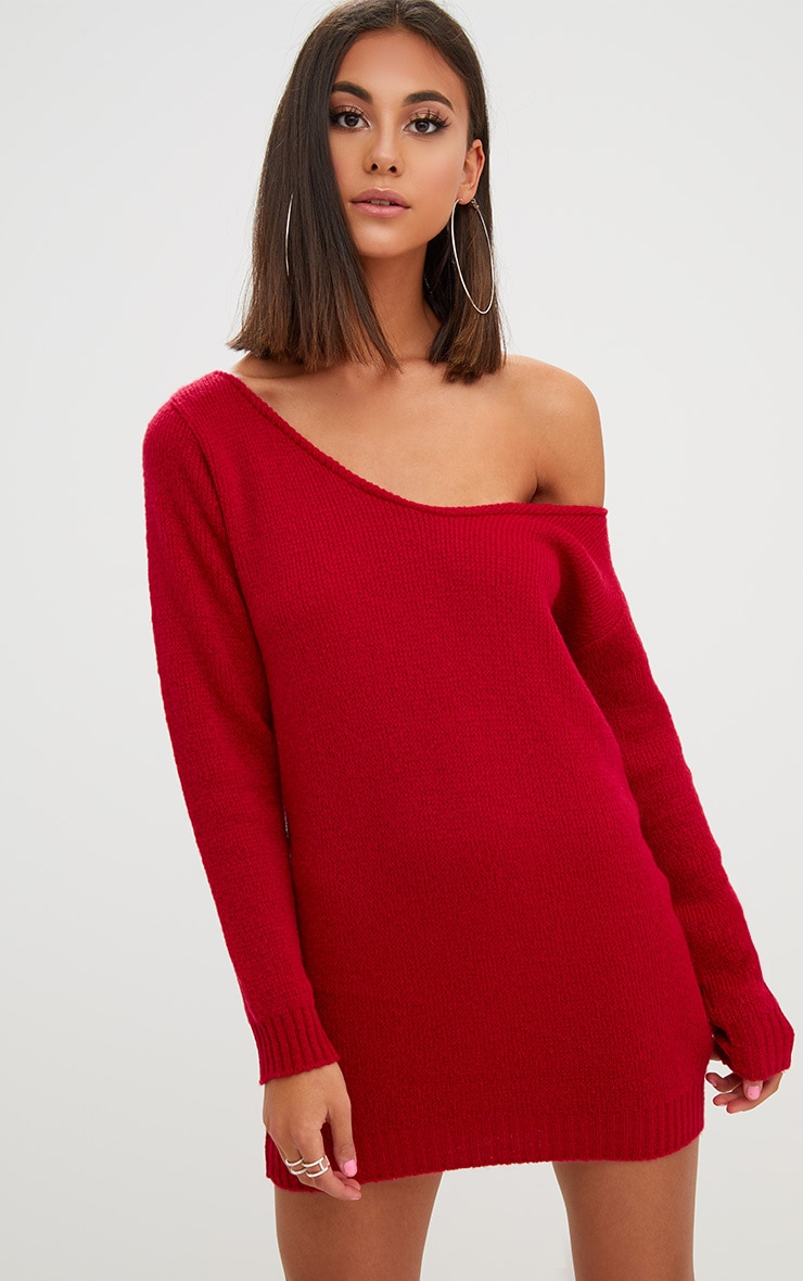 c9342f625fdc Red Soft Knitted Off Shoulder Mini Dress. Knitwear | PrettyLittleThing