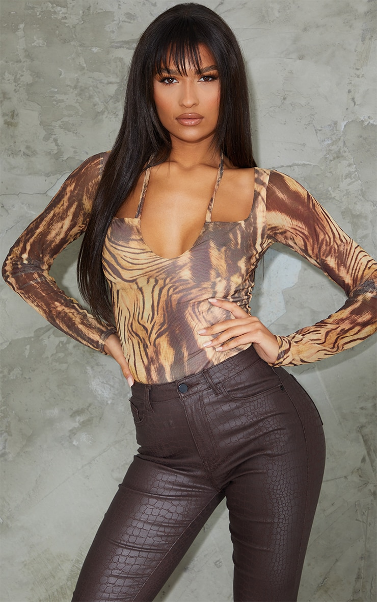 Nude Animal Printed Mesh Halterneck Long Sleeve Bodysuit 1