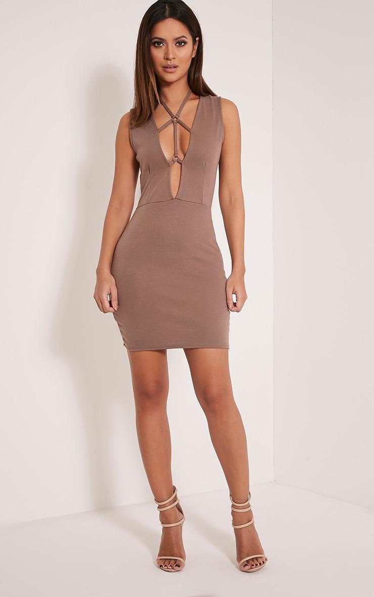 Raynie Mocha Sleeveless Harness Bodycon Dress 5