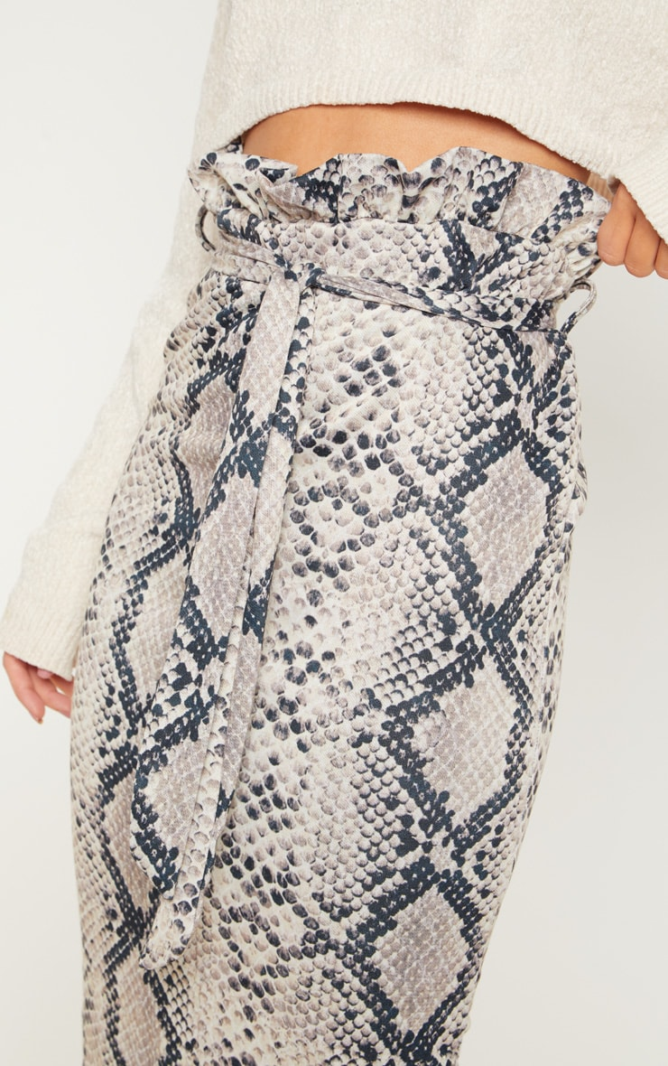 Snake Print Paperbag Midi Skirt 5