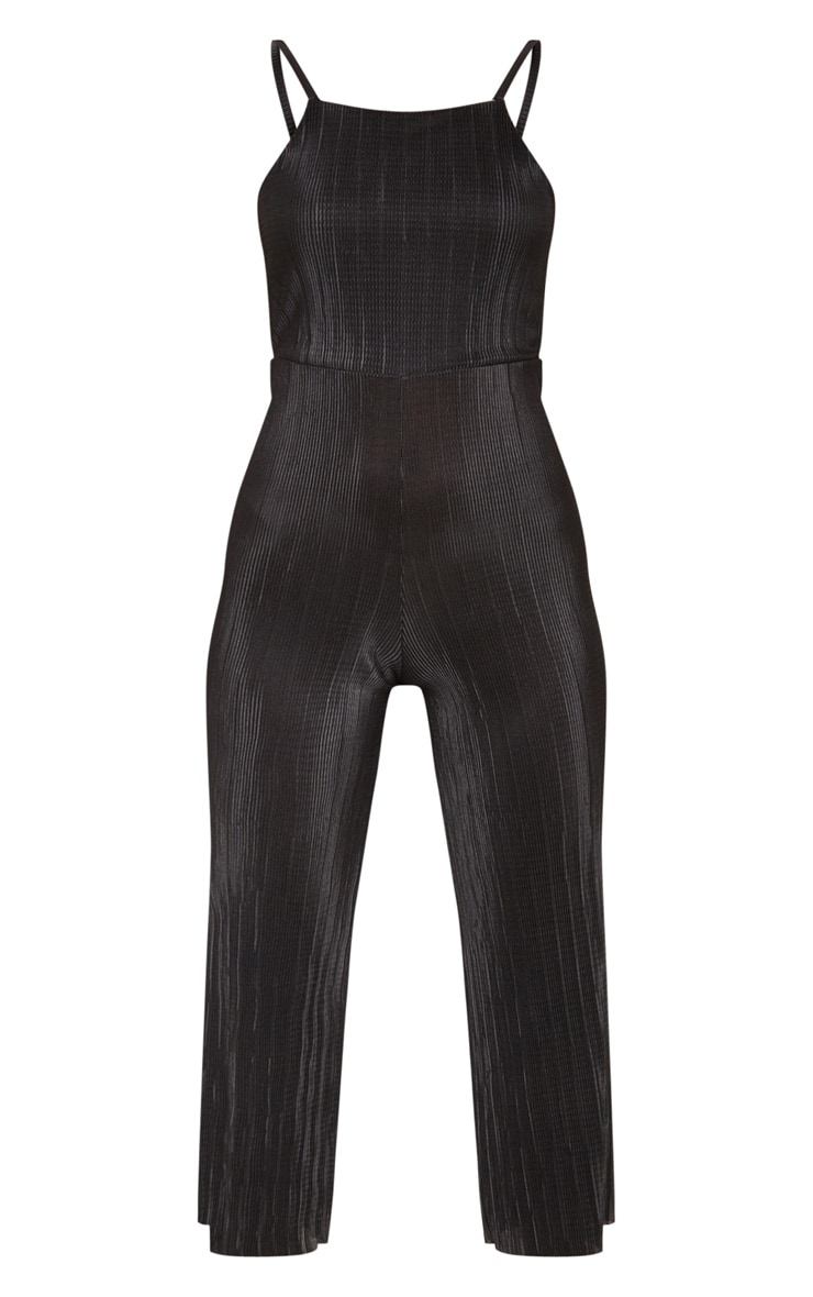 Lissy Black Pleated Strappy Tie Back Jumpsuit 3