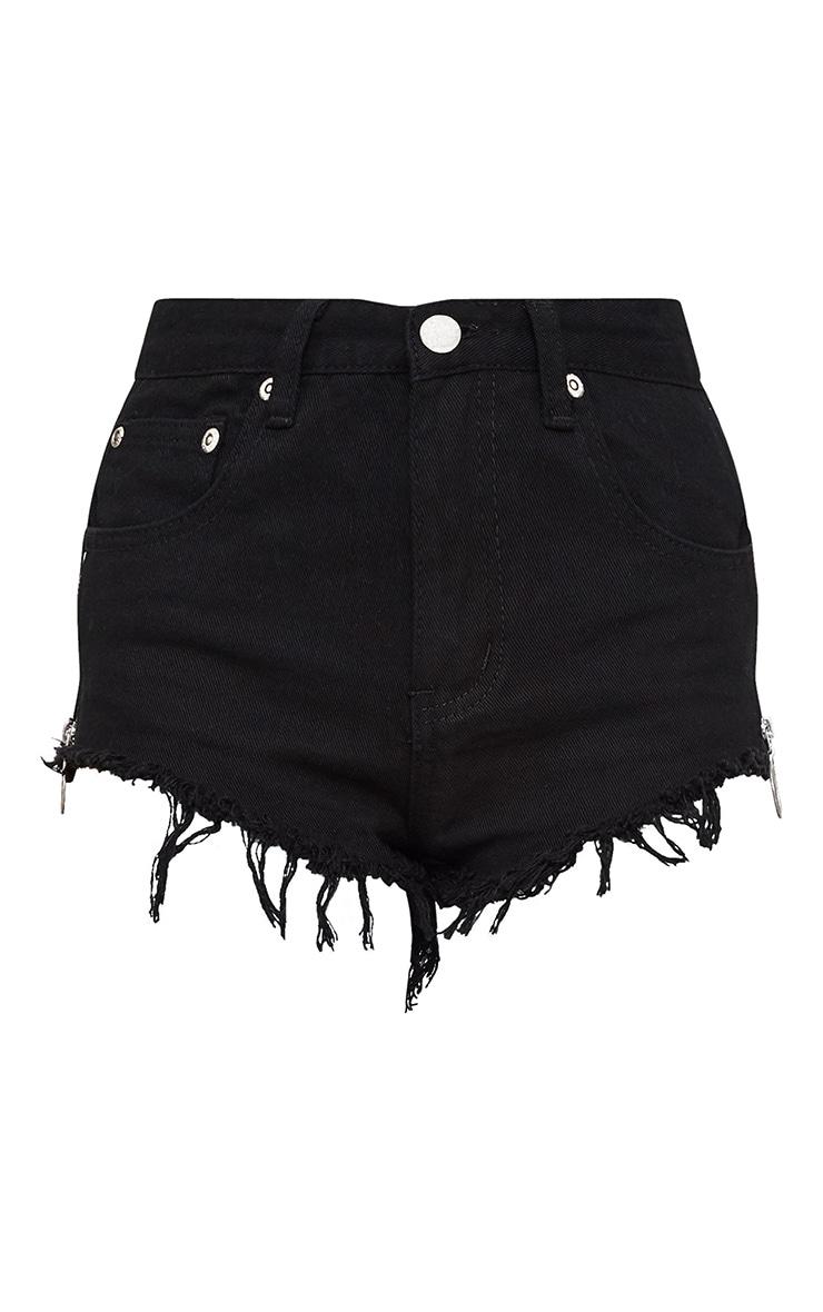 Petite Black Side Zip Detail Denim Hotpants 3
