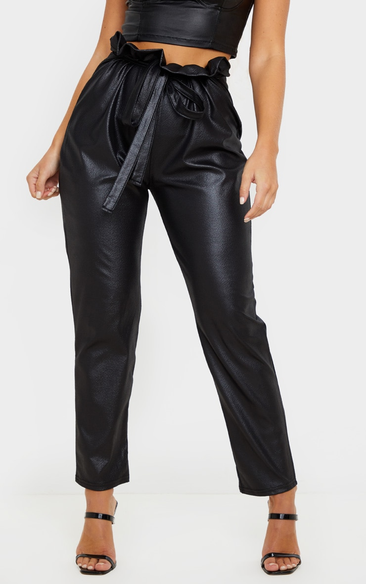 Black Coated Paperbag Waist Trouser 2