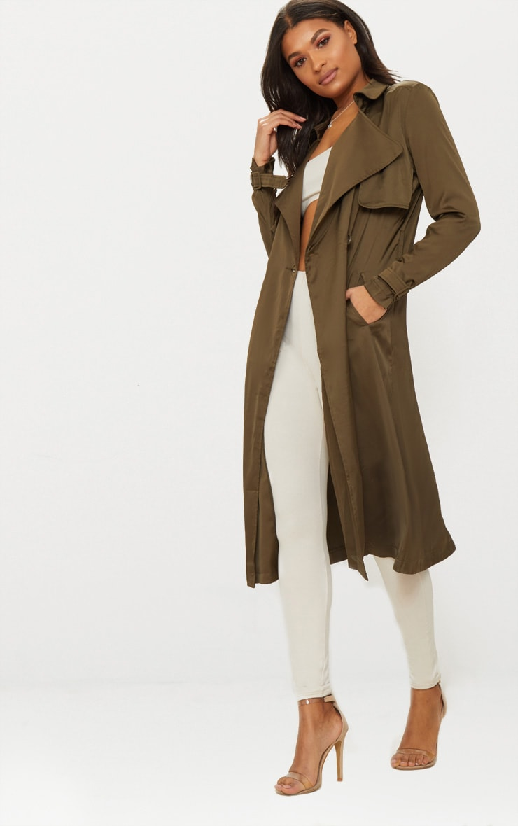 Khaki Satin Trench 3