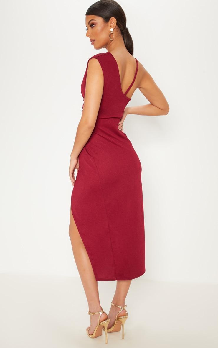Burgundy Asymmetric Sleeve Ruched Midi Dress 2