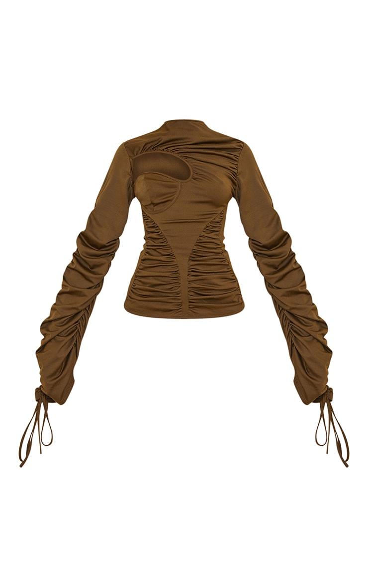 Khaki Scuba Extreme Ruching Detail Long Sleeve Long Top 5