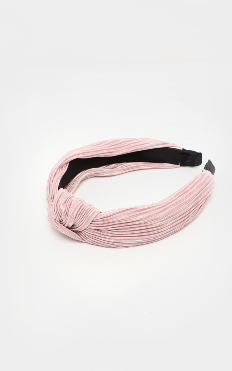 Pale Pink Pleated Knotted Head Band 3
